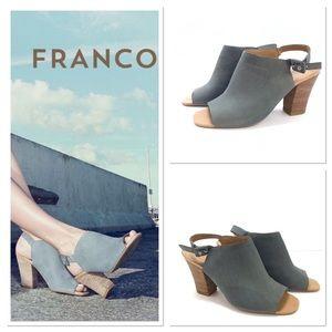 Franco Sarto Monogram Peeptoe Sandals Jean Blue 8